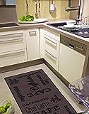 andiamo 282475 Küchenläufer 'Espresso' / Waschbarer brauner Kurzflor Läufer aus 100% Polyamid / 1 x Teppich (57 x 120 cm)