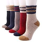 Lazzboy 5 Pair Damen Vintage Style Dicke Wolle Warme Winter Baumwollsocken Wollsocken Bunte Weiche Stricksocken Für Stil Kuschelsocken(E)