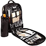 Brubaker Picknickrucksack für 4 Personen Schwarz 30 × 39 x 21 cm - inkl. Kühlfach + Abnehmbarer Iso-Flaschenhalter