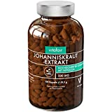 Johanniskraut Extrakt - 500mg pro Tagesdosis - 100 Kapseln - 0,3% Hypericin = 1,5 mg - Vegan - Ohne Magnesiumstearat - German Quality