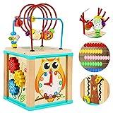 Motorikwürfel Perlen Labyrinth Holzspielzeug-Activity Würfel für Babys aus Holz-Motorikschleife-5 Aktivitäten Abacus Counting Achterbahn Beads Maze-Frühes Lernspielzeug Babys Montessori-Spielzeug