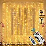 LED Lichtervorhang Warmweiß Innen, Zorara USB Lichterketten Vorhang Wasserfall 3m x 3m 300 LEDs Lichterkettenvorhang 8 Modi IP65 LED Vorhang Lichter für Weihnachten, Außen, Party, Hochzeit usw.