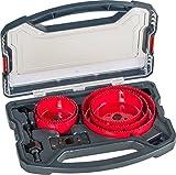 kwb Lochsäge-Set, 8-teilig, Durchmesser-Größe von 68 mm bis 127 mm inkl. HSS Zentrierbohrer im praktisch stabilem Kunststoffkoffer