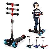 UNI-SUN Kinder Roller Scooter, Kinderscooter, Kinderroller, Kinderroller mit 3 LED-Rädern, geeignet für Jungen und Mädchen, faltbar, höhenverstellbar, geeignet für Kinder von 2 bis 12 Jahren