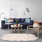 WOLTU TP3525ws-M Öko Lammfell Schaffell Teppich Bettvorleger Sofa Matte echtes Naturfell Longhair Weiß 180 * 95cm