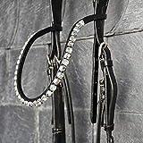 GlücksHucke Stirnriemen Pferd geschwungen, schmal 'Silver Love' mit Swarovski Chatons in Silber, handgenäht (WB, Lederfarbe Schwarz)