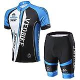 VEOBIKE Herren Trikot Set Kurzarm Trikot Fahrradbekleidung Fahrradtrikot Männer Trikot Atmungsaktiv Schnell Rocknend, EU M, Blau&Weiß
