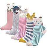 LOFIR Kinder Socken aus Baumwolle Mädchen Sneaker Socken Kleinkind Karikatur Niedliche Tier Socken Lässige Sport Schulen Laufen Socken Größe 20-22, für 2-4 Jahre, 5 Paare