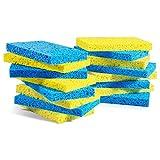MASTERTOP 16 Stück Schwamm aus Zellulose, feinporig Reinigungsschwamm(121 x 76 x 12 mm),multifunktional Schwamm, umweltfreundlich für Küche, Gelb und Blau