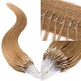 TESS Microring Extensions Echthaar Loop Haarverlängerung 0,5g Remy günstig Human Hair Extensions 100 Strähnen 50g 55cm(#27 Dunkelblond)