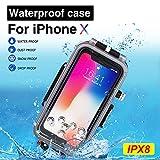 BECEMURU iPhone Wasserdicht Sealed Fall 60m/195ft Professionelle Unterwasser Foto Video wasserdichte Tauchen Schwimmen Fall für iPhone X/Xs (Schwarz)