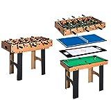 HOMCOM 4 in 1 Multi Spieltisch Tischkicker Tischfussball Kicker Hockey Billard Tischtennis, MDF, 87x43x73cm