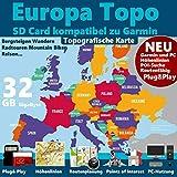 EUROPA Karte Topo Höhenlinien microSD Outdoor Topo Karte - passend für Garmin Navi Geräte – Komplette Europa Karte 47 Länder