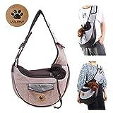 UniM Transporttasche für Hunde und Katzen, für kleine Welpen, Schultertasche, Reisetasche, zusammenklappbar, coffee