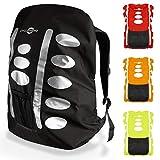 CYCLEHERO Regenschutz Rucksack (45cm x 35cm, schwarz) Rucksack Regenschutz mit reflektierenden Elementen und praktischer Mesh-Tasche – wasserdichte Regenhülle Rucksack