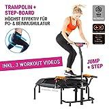 HAMMER Fitness-Trampolin JumpStep, Flexibles und gelenkschonendes Step-Board, aufstellbar, intensives Po- und Beinmuskeltraining, 3 Trainingsvideos inklusive, höhenverstellbarer Griff