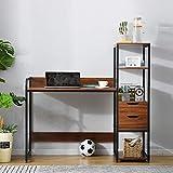 ModernLuxe Schreibtisch mit Ablage Eckschreibtisch Computertisch Bürotisch in Industrie Stil aus Holz und Schwarz Metallrahme, 125 x 55 x 122 cm, Dunkel Rotbraun