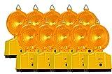 10 Stück Baustellenleuchte, Warnleuchte gelb - mit Schloss, LED, inkl. 2 Lampenschlüssel (ohne Batterie)