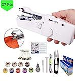 Aoweika Handnähmaschine Mini Handheld Nähmaschine Tragbar Elektrische Handnähmaschine Schneller Handlicher Stich für Stoff Kleidung Kindertuch(27Pcs)