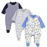 TupTam Baby Jungen Schlafstrampler mit Fuß 3er Pack, Farbe: Farbenmix 2, Größe: 98