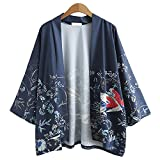 Japanische Kimono Jacke Robe - Traditionelle Klassische Haori Kleidung Tokio Harajuku Antike Stile Floral Geblümte Lockere Jacke Robe Kostüm Bademantel Nachtwäsche für Frauen Männer Mädchen (Blau)