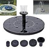 Solar Springbrunnen, 5,3'Solar Wasserpumpe, Solar Schwimmender Fontäne Pumpe mit 3 Fontänenstile für Garten, Vogel-Bad, Teich, Fisch-Getränke