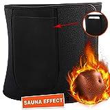 Emooqi Taillen Trimmer, Einstellbar Effizientes Schwitzen Fitness - Gürtel,Schwitzgürtel zur Beschleunigt Gewichtsverlust & Fettverbrennung & Sauna Neopren mit Handytasche