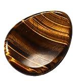 CrystalTears Natur Edelstein Tropfen Konkav Handschmeichler Trommelstein Worry Stone Reiki Healing Stein Deko (Tigerauge)