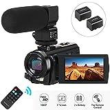Camcorder Videokamera, Aabeloy Digitalkamera mit Mikrofon 1080P 30FPS 24MP 16X Digitalzoom 3,0 Zoll LCD 270 Grad drehbarer Bildschirm YouTube Vlogging Camera Recorder mit Fernbedienung, 2 Batterien