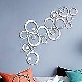 24 Stück Spiegel Wandaufkleber Kreise Rund Wandsticker Wandtatoo Spiegel Wanddeko Wandkunst Selbstklebend Abnehmbar für Schlafzimmer, Wohnzimmer, Haus Deko
