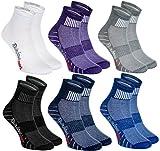 Rainbow Socks - Damen Herren Bunte Baumwolle Sport Socken - 6 Paar - Weiß Lila Grau Blau Marine Schwarz - Größen 39-41
