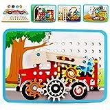 VATOS Zahnrad Holzpuzzle für Kinder, Motorikspielzeug Holzspielzeug mit 4 Automuster, Perfekt Pädagogisch Montessori Spielzeug ab 3 4 5 6+Jahre Jungen Mädchenund