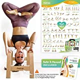 FeetUp® Yoga Kopfstandhocker - Original Kopfstand Trainer Stuhl aus Buchenholz mit weißem Polster