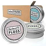 DOCTORS Floss 3 x 100m vegane Zahnseide gewachst, nachfüllbare Zahnseide Dose, extra dünn, Minzgeschmack, nachhaltige Zahnseide umweltfreundlich
