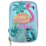 taiyuanCathy Attraktives Federmäppchen für Mädchen, große Stifteboxen mit Flamingo-Applikation, Cartoon-Federmäppchen, luxuriös, Schulbedarf (kein 1)