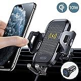 TORRAS Handyhalter für Auto Wireless Charger 2020 Upgrade Kit mit Auto Ladegerät 2 Lüftungsclips Qi 10W Fast Charging Auto Handyhalterung für iPhone SE 11Pro XS XR Samsung S20 S10 Huawei usw