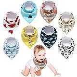 Yetech 8er Baby Dreieckstuch Lätzchen Spucktuch Halstücher mit süßen Motiven in unterschiedlichen Farben, Doppellagig Saugfähig für Baby Jungen und Mädchen Kleinkinder