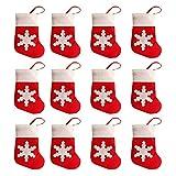12 x Weihnachtsgeschirr-Abdeckungen für kreatives Tisch, Vliesstoff, Schneesocken, Bestecktaschen für Messer und Gabeln, 14 x 8 cm, Weihnachts-Socken-Anhänger, Dekoration mit Schneeflocken, 12 Stück