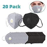 20 Stück Atemschutzmaske, N95 Einweg Staubmaske mit 7 Schichten Filter, Mundschutz Maske mit Atemventil Aktivkohle-Luftfilter für Pollen Feinstaub Allergie Rauch Sport Unisex (Schwarz Grau)