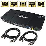 TESmart 2fach HDMI KVM Switch – 4K Ultra HD mit 3840 x 2160 bei 60 Hz 4:4:4;2 Stck 5ft/1,5m KVM-Kabel unterstützt USB 2.0 Gerätebedienung bis max. 2 Computer/Server/DVR (Schwarz)