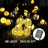 Solar Lichterkette Aussen - 40 LED 8M/26.3FT Lichterkette Außen/Innen mit LED Kugel Solar Wasserdicht Lichterkette Lichter Beleuchtung für Garten, Bäume, Terrasse (Warmweiß)
