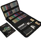 Komplettes Zeichenset 74-Teilig - Anfänger oder Fortgeschrittene, Federmappe mit 24 Wasserfarb-Malstiften, 12 Buntstifte, 12 metallische Malstifte, 12 Bleistifte und Zubehör - 1 Zeichenblock inklusive