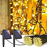 MeiGuiSha [2 Stück] Solar Lichterkette Aussen,10M 100 LED IP65 Wasserdicht Solar Lichterkette Außen, Zaun, Party, Balkon, Garten, Weihnachten Dekorationen (Warmweiß)