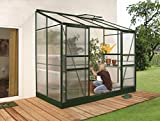Gartenwelt Riegelsberger Anlehngewächshaus Ida - Ausführung: 3300 HKP 4 mm dunkelgrün, Fläche: ca. 3,3 m², mit 1 Dachfenster, Sockelmaß: 1,28 x 2,54 m
