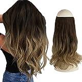 FESHFEN Halo Echthaar Extensions, Haarteile Echthaar Halo Haarverlängerungen Haar extension, Synthetische Secret Hair Extension, 46cm 130g