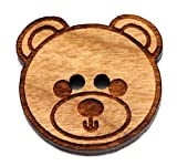NaturSchatulle Holzknöpfe Motiv Teddy | 5 Stück Kirsche 2 Loch Knöpfe Holz DIY Basteln Nähen Schmuckherstellung Annähen Kinderknöpfe