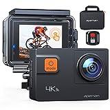 APEMAN Action Cam A87,UHD 4K 60fps Touchscreen WiFi Unterwasserkamera 20MP Digitale wasserdichte 40M Helmkamera (2.4G Fernbedienung,kostenlose Transporttasche, 2x1050mAh verbesserten Batterien)