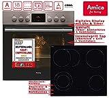 Amica EHC 12550 E Herd-Kochfeld-Kombination / A / 0.95 kWh / 66 L / Steam Clean Reinigungsfunktion durch Wasserdampf / Timer(sensorengesteuert) für 9 Beheizungsarten LED Display / gefalzt, 3D-Effekt