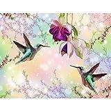 Fototapete Blumen Vögel 352 x 250 cm - Vlies Wand Tapete Wohnzimmer Schlafzimmer Büro Flur Dekoration Wandbilder XXL Moderne Wanddeko - 100% MADE IN GERMANY - 9402011a