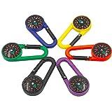 Nuluxi Kompass Karabinerhaken Schlüsselanhänger Mehrfarbig Kunststoff Karabiner Reisen Wandern Kompass Karabiner Leicht und Praktisch Verwendet für Camping, Wandern und Bergsteigen- Zufällige Farbe